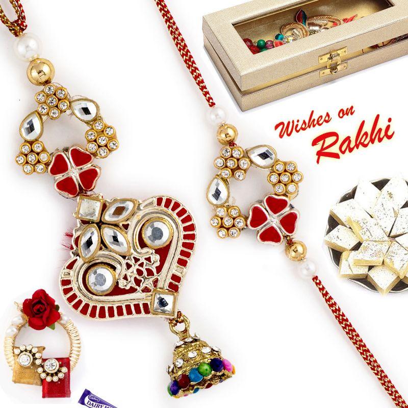 Buy Aapno Rajasthan Ad Studded Heart Shape Bhaiya Bhabhi Rakhi Set - Rp17912 online