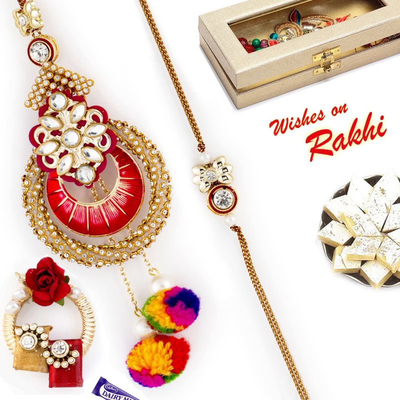 Buy Rakhi For Abroad_aapno Rajasthan Ad & Cotton Drop Beads Emellished Bhaiya Bhabhi Rakhi Set - Int_rp17927 online
