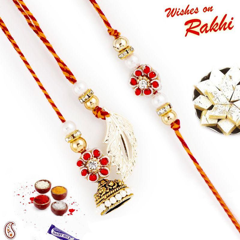 Buy Rakhi For Abroad_aapno Rajasthan Red Crystal Floral Motif Bhaiya Bhabhi Rakhi Set - Int_rp17941 online