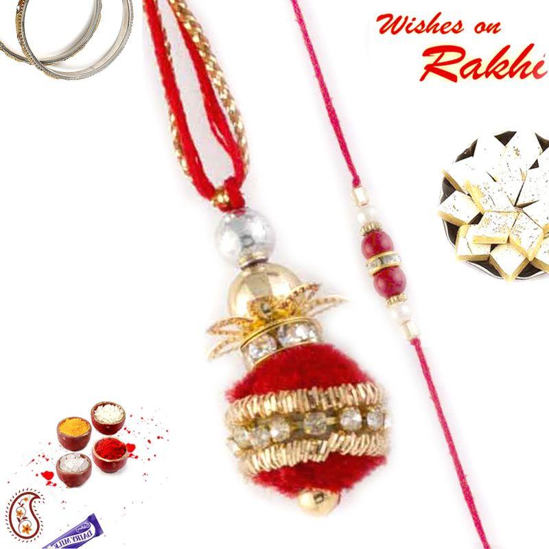 Buy Aapno Rajasthan Superb Red Balls Embellished Bhaiya Bhabhi Rakhi Set - Rp17992 online
