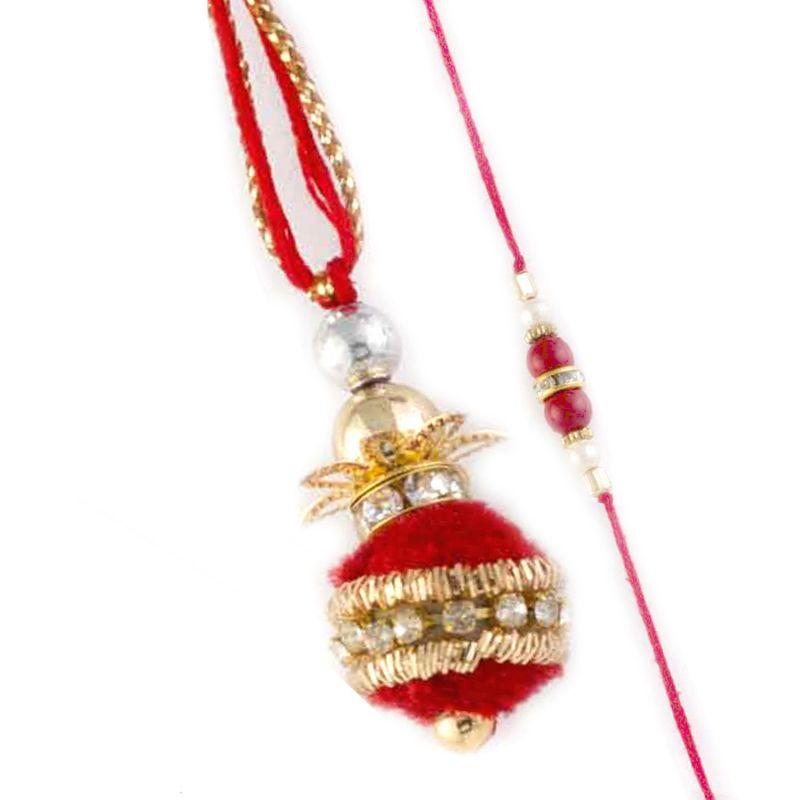 Buy Rakhi For Uae- Aapno Rajasthan Superb Red Balls Embellished Bhaiya Bhabhi Rakhi Set - Uae_rp17992 online