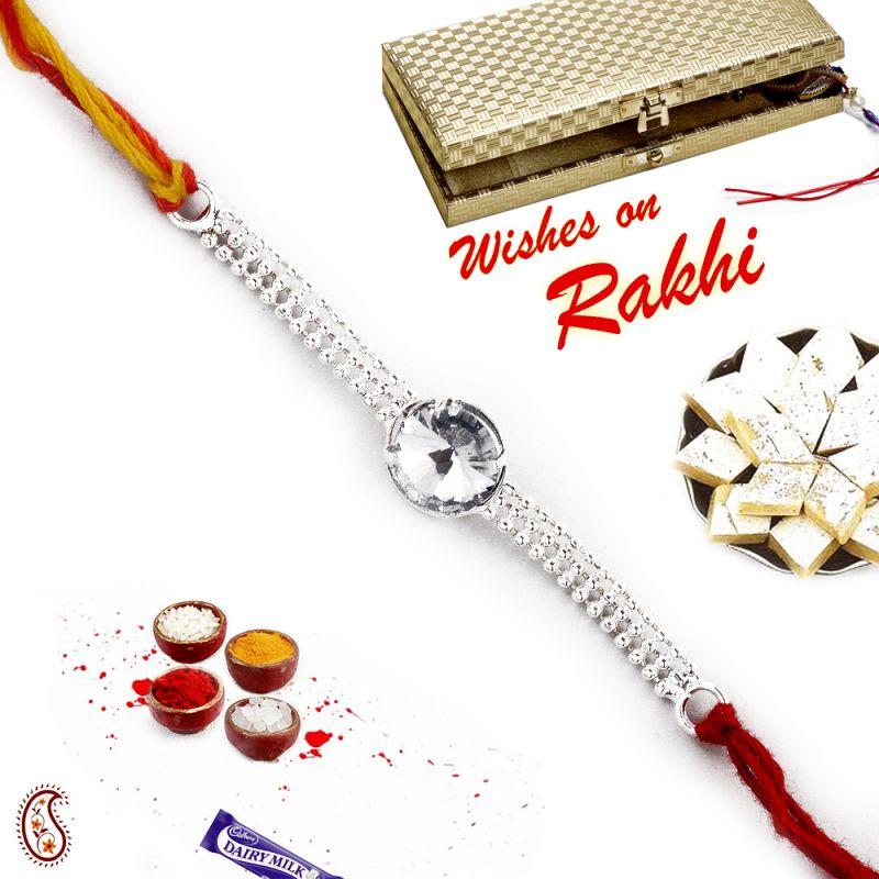 Buy Aapno Rajasthan Beautiful White Crystal Silver Chain Rakhi - Srl17560 online