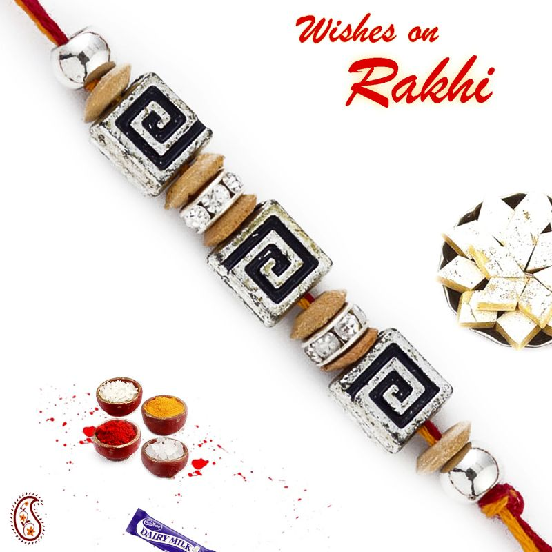 Buy Aapno Rajasthan Beautiful Sandalwood Rakhi With American Diamonds - Sw17670 online