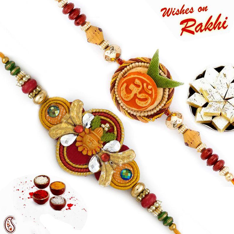 Buy Rakhi For Usa- Aapno Rajasthan Set Of 2 Swastik & Kalash Motif Mauli Thread Rakhi - Us_pst170202 online