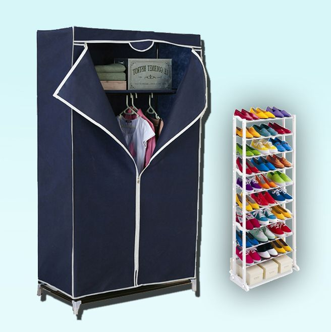 Buy Kawachi Single Door Space Saving Foldable Wardrobe And Amazing Shoe Rack online