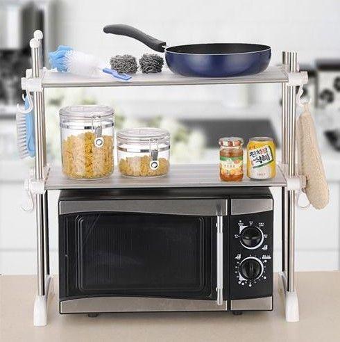 Kawachi Kitchen Microwave Oven Racks Double Bowl Stainless Steel Rack K195 Online