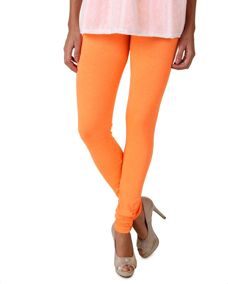 Buy Fasense Women's Orange Cotton Leggings, online
