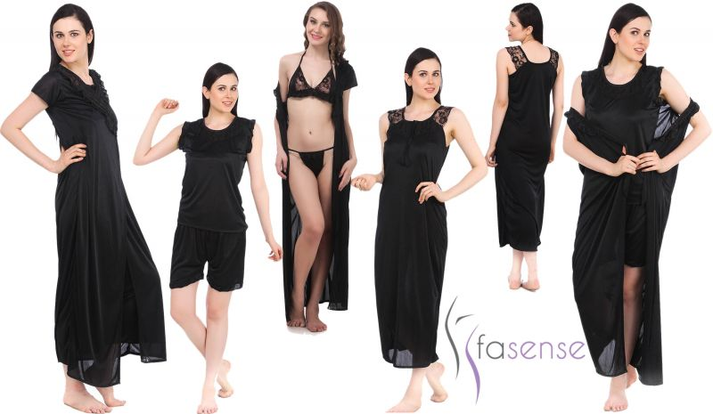 Buy Buy Fasense Women 6 PCs Set Nightwear Set Nighty Robe Top Barmuda Sleepwear Online | Best Prices in India: Rediff Shopping online