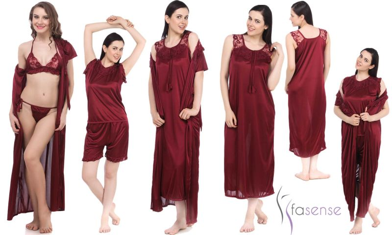 8d087801bdf Buy Fasense Women 6 PCs Set Nightwear Set Nighty Robe Top Barmuda Sleepwear  online