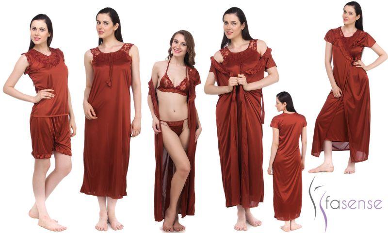13176f2ffb Buy Fasense Women 6 PCs Set Nightwear Set Nighty Robe Top Barmuda Sleepwear  online