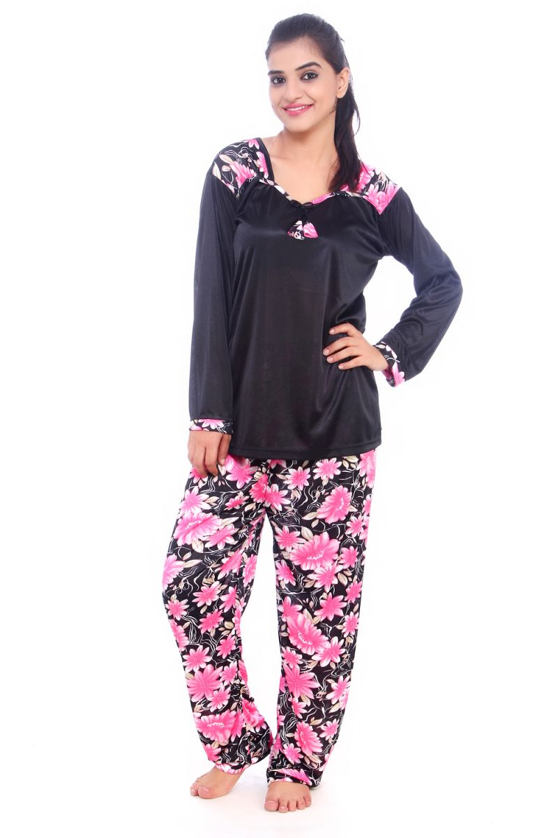 Buy Fasense Women Satin Nightwear Sleepwear Pyjama Set Night Suit Dp062 B online