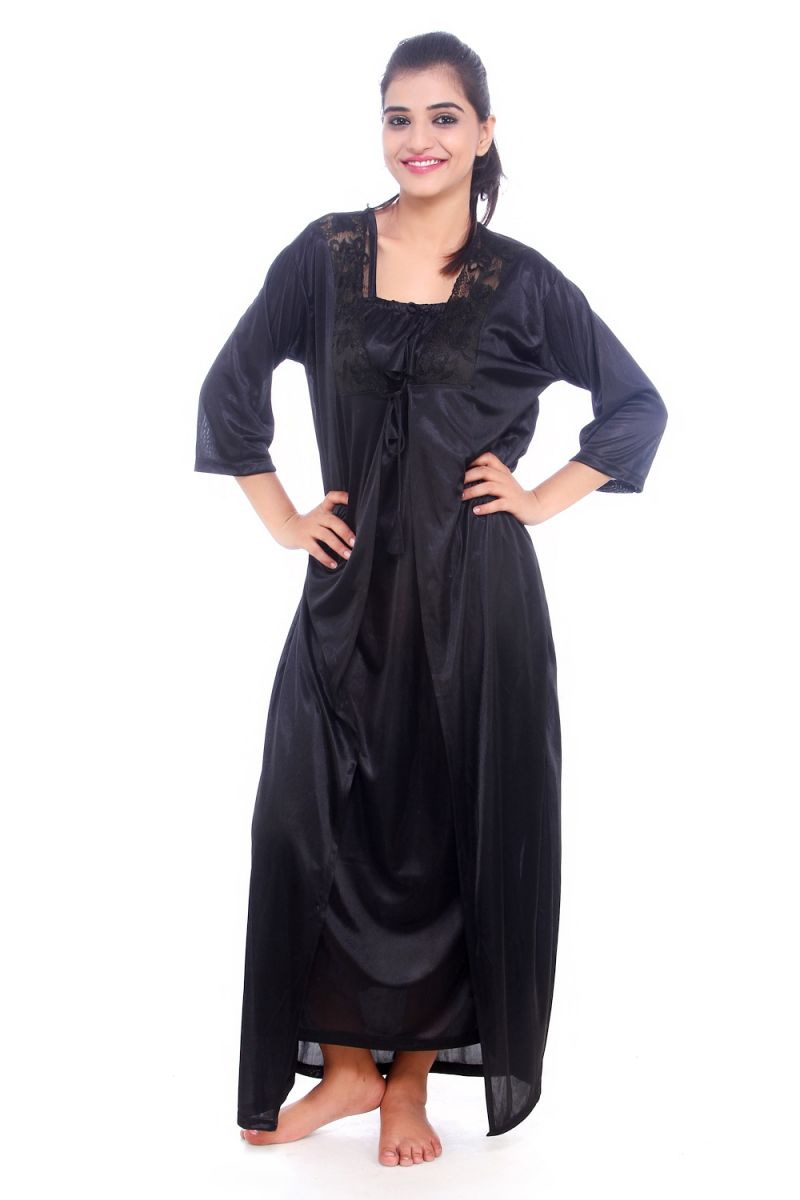 Buy Fasense Women Satin Nightwear Sleepwear 2 PCs Nighty With Robe Set online