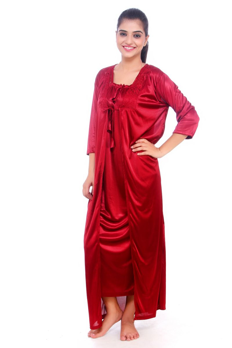 8985b29424 Buy Fasense Women Satin Nightwear Sleepwear 2 PCs Nighty With Robe Set  Dp065 C online