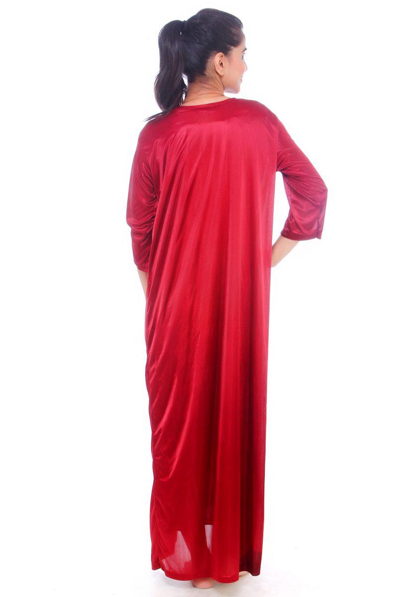 1b53f55b46 Fasense Women Satin Nightwear Sleepwear 2 PCs Nighty With Robe Set Dp065 C.  50%