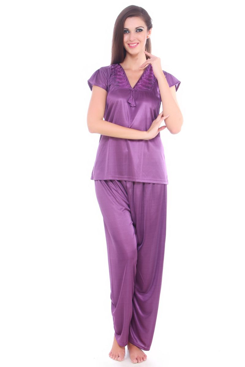 Buy Fasense Women Stylish Satin Nightwear Sleepwear Top & Pyjama Set Dp092 A online