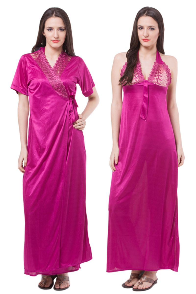 Buy Fasense Women Satin Nightwear Sleepwear 2 Pc Set Nighty & Wrap Gown online