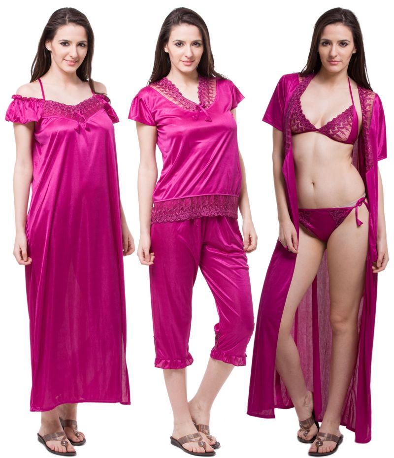 Buy Fasense Exclusive Women Satin Nightwear Sleepwear 6 PCs Set Of Nighty  Dp115 D online 0f7cab777