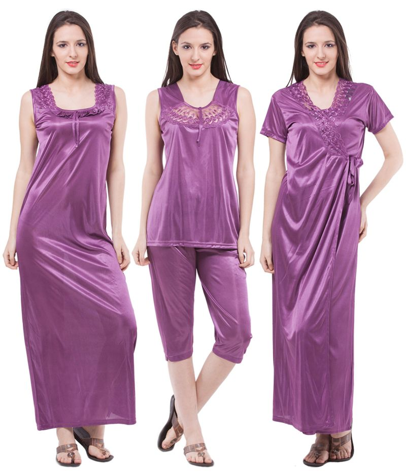 Buy Fasense Exclusive Women Satin Nightwear Sleepwear 4 PCs Set Of Long  Nighty online 074592d41