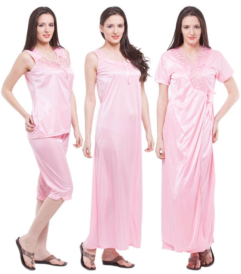 Buy Fasense Exclusive Women Satin Nightwear Sleepwear 4 PCs Set Of Long Nighty Dp117 B online