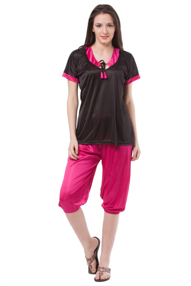 Buy Fasense Exclusive Women Satin Nightwear Sleepwear Top & Capri Set, Dp122 B online