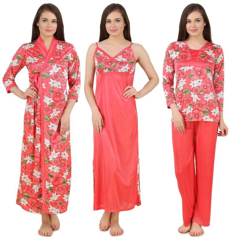 Buy Fasense Women Satin Nightwear 4 PC Set Nighty, Wrap Gown Top,pyjama Dp168 A online