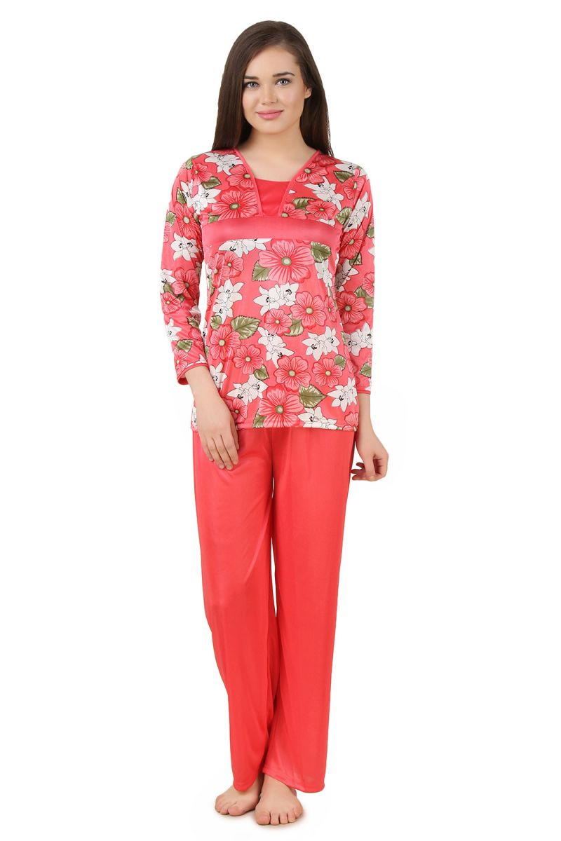 Buy Fasense Women Satin Nightwear Nightsuit Top & Pyjama Set online