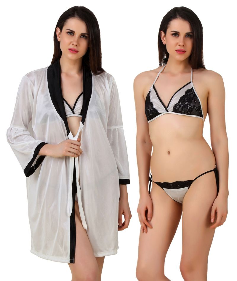 Buy Fasense Women Satin Nightwear 3 Pc Set of Short Nighty, Bra & Thong online