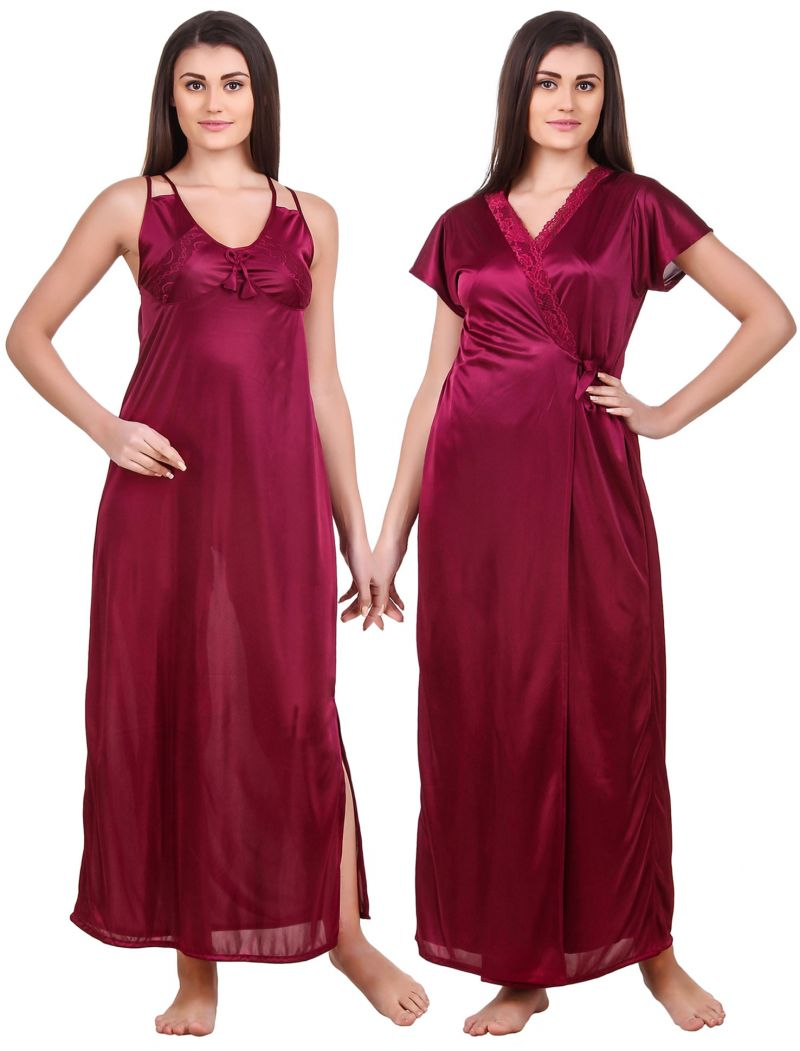 Buy Fasense Women Satin Wine Nightwear 2 Pc Set Of Nighty & Wrap Gown online