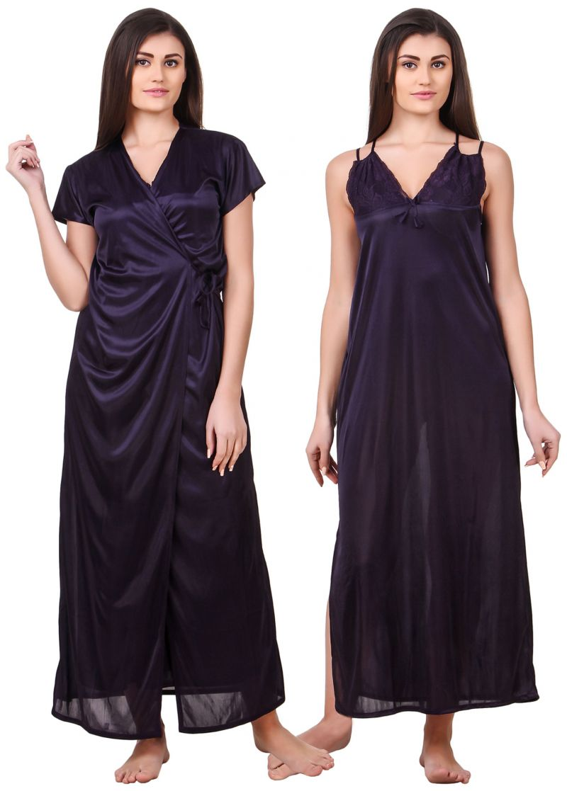 Buy Fasense Women Satin Navy Blue Nightwear 2 Pc Set Of Nighty & Wrap Gown online