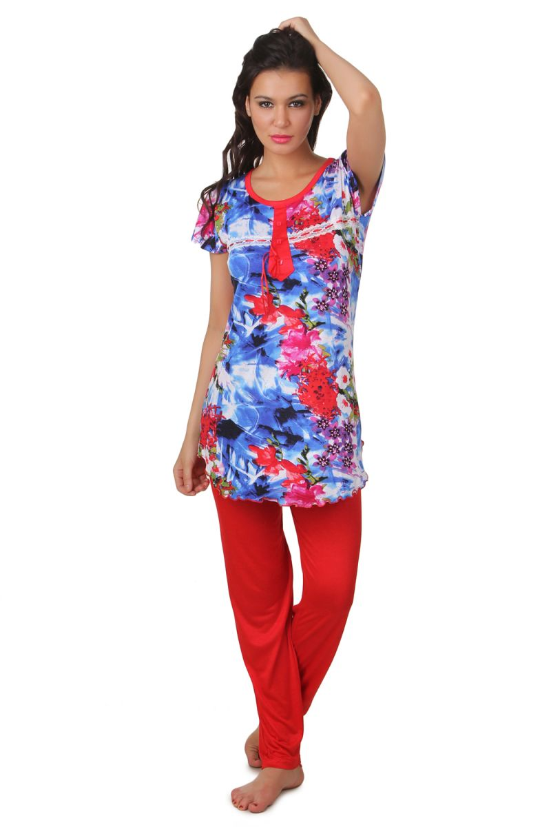 Buy Fasense Exclusive Women viscose Nightwear Top & Pyjama Set online