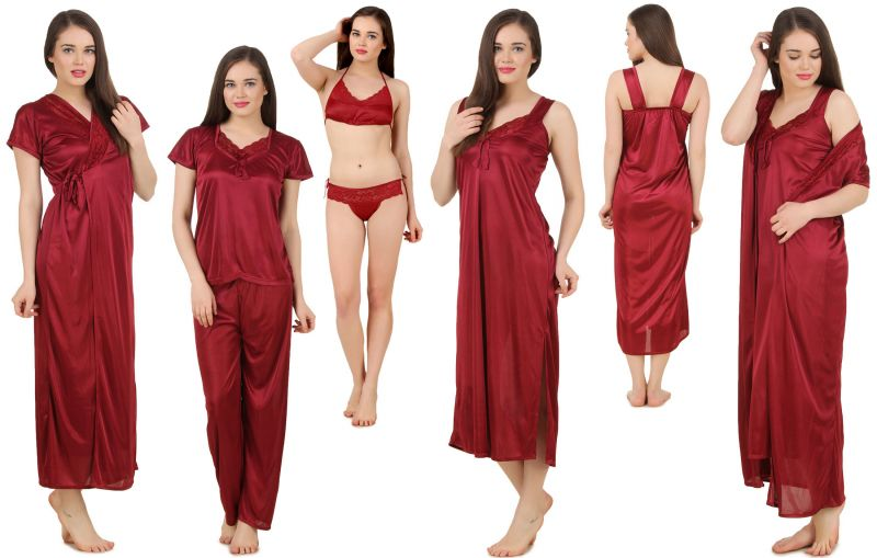 Buy Fasense Women's Satin 6 PCs Nighty, WrapGown,Top,Pyjama,Bra & Thong online