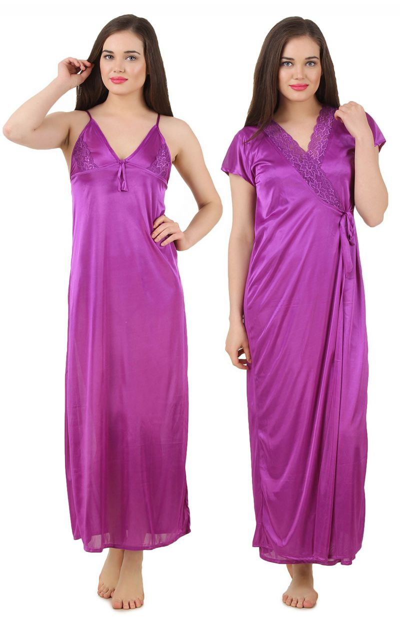 Buy Fasense Women's Satin Nightwear 2 PCs Set Of Nighty & Wrap Gown Gt003 A online
