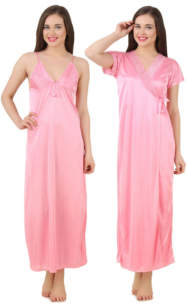 Buy Fasense Women's Satin Nightwear 2 PCs Set Of Nighty & Wrap Gown Gt003 B online