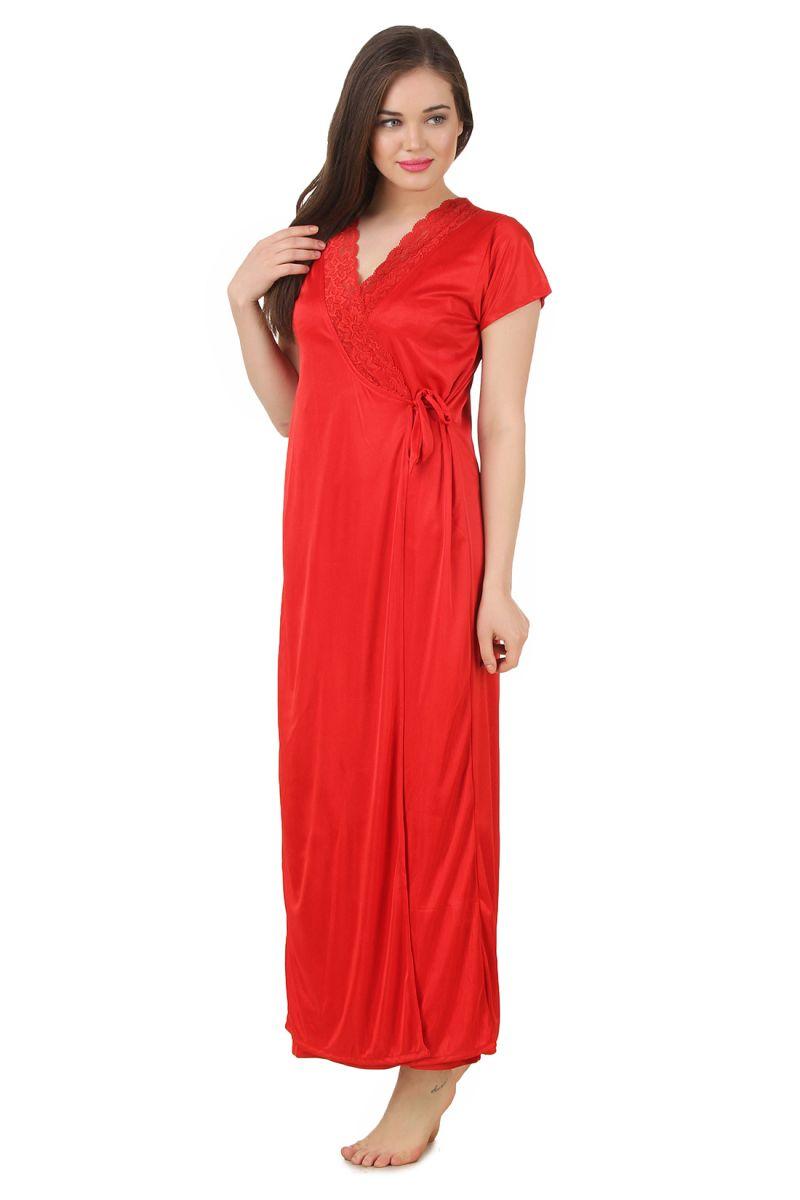91934de113 Buy Fasense Women s Satin Nightwear 2 PCs Set Of Nighty   Wrap Gown ...