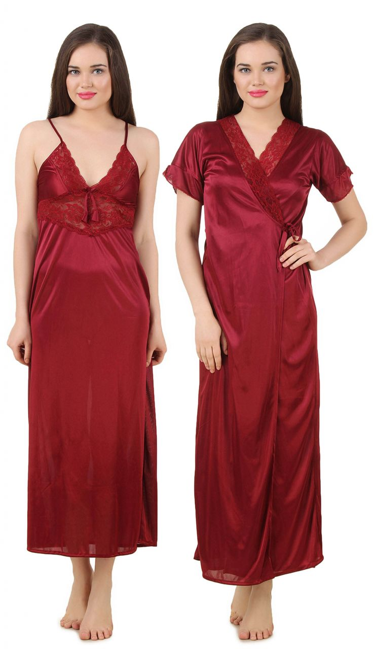 Buy Fasense Women's Satin Nightwear 2 PCs Set of Nighty& Wrap Gown online