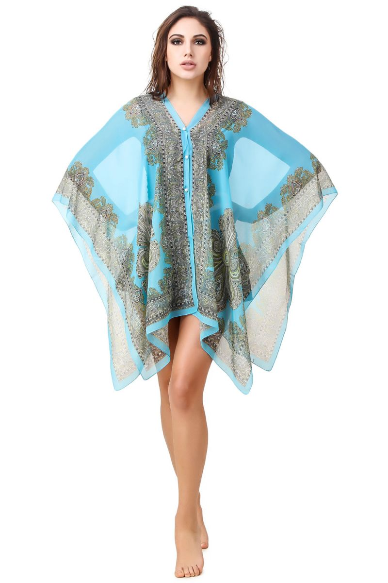Buy Fasense Printed Turquoise Beachwear Cover Up Mm001 D online