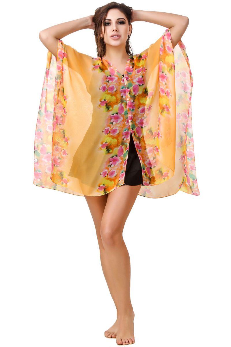 Buy Fasense Floral Printed Orange Multi Beachwear Cover Up Mm002 B online