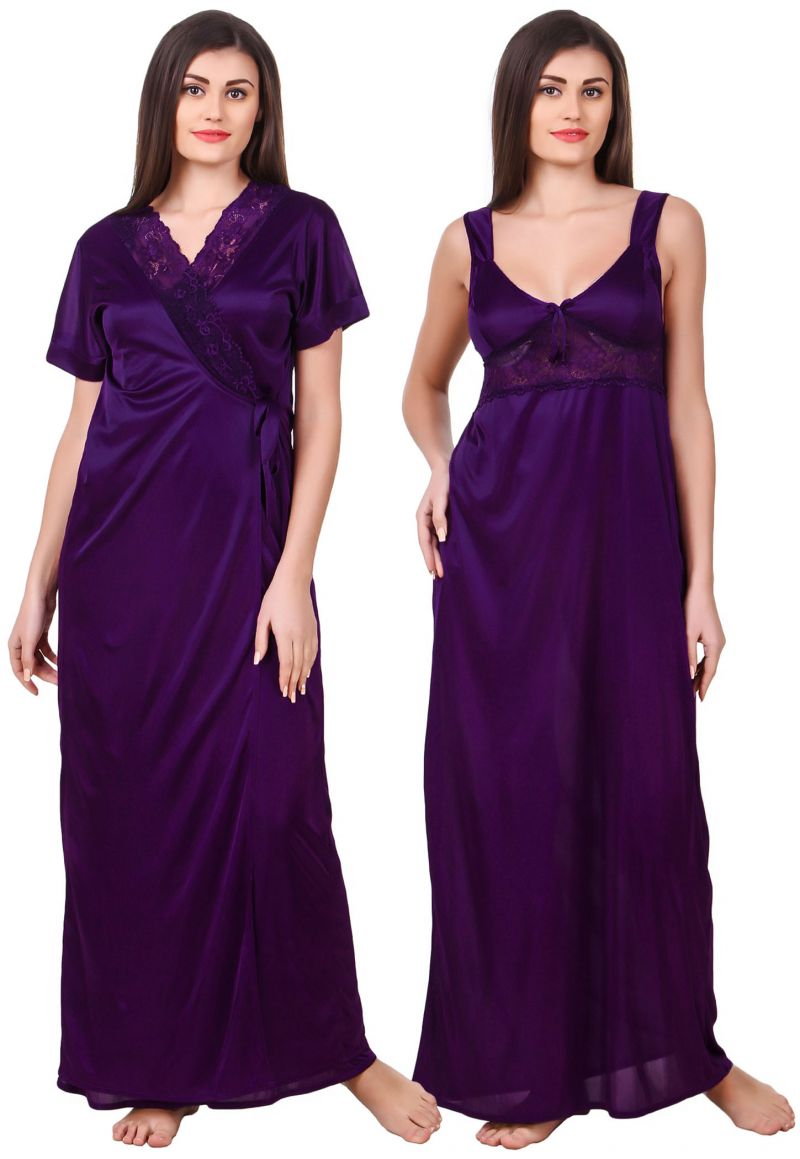 Buy Fasense Women Satin Dark Purple Nightwear 2 PC Set Of Nighty & Wrap Gown - ( Code - Om007 F ) online
