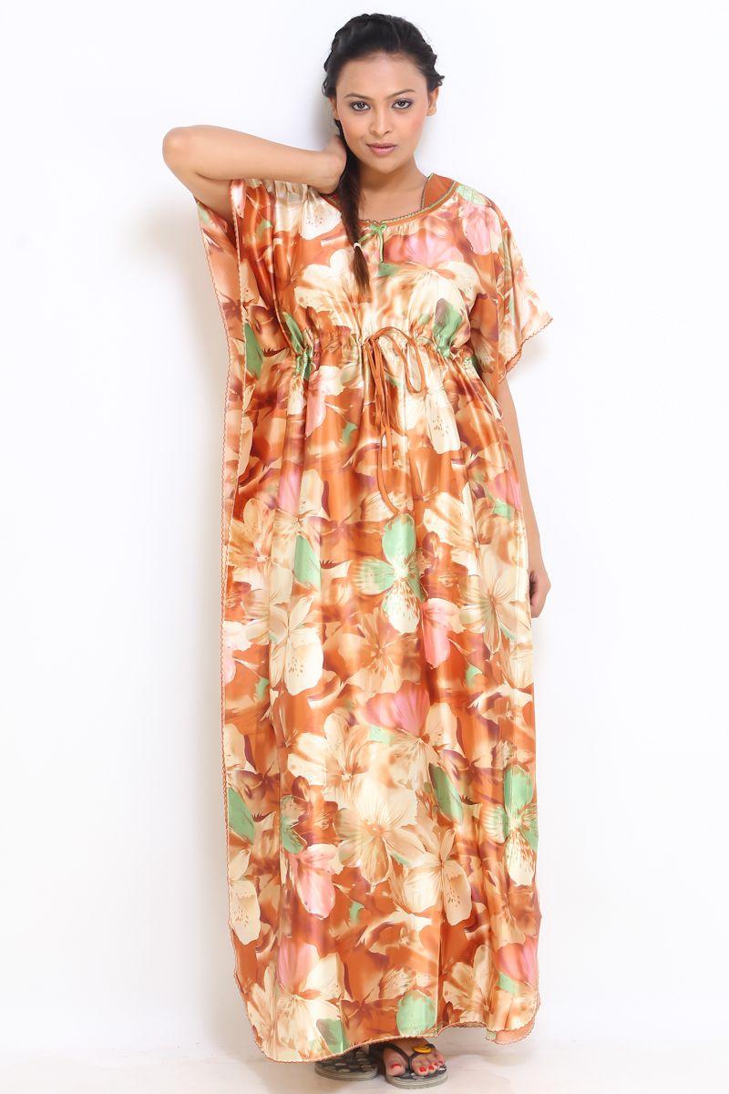 2ab57f8a0d Buy Fasense Women Stylish Satin Mustured Long Kaftan Nighty Rr020 D online