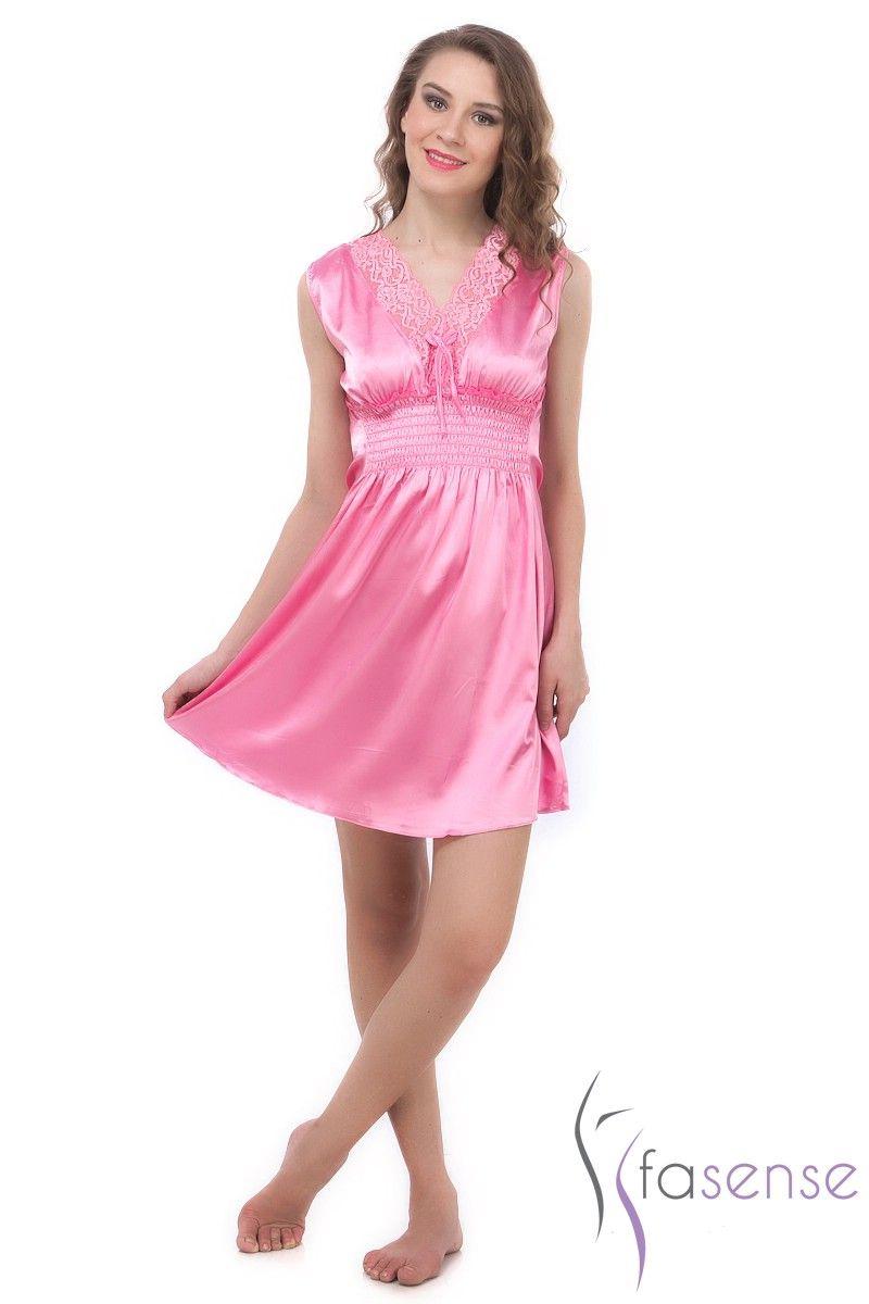 46cd59bd8d Buy Fasense Exclusive Women Baby Pink Korean Satin Short Slip Nighty Rr024  B online