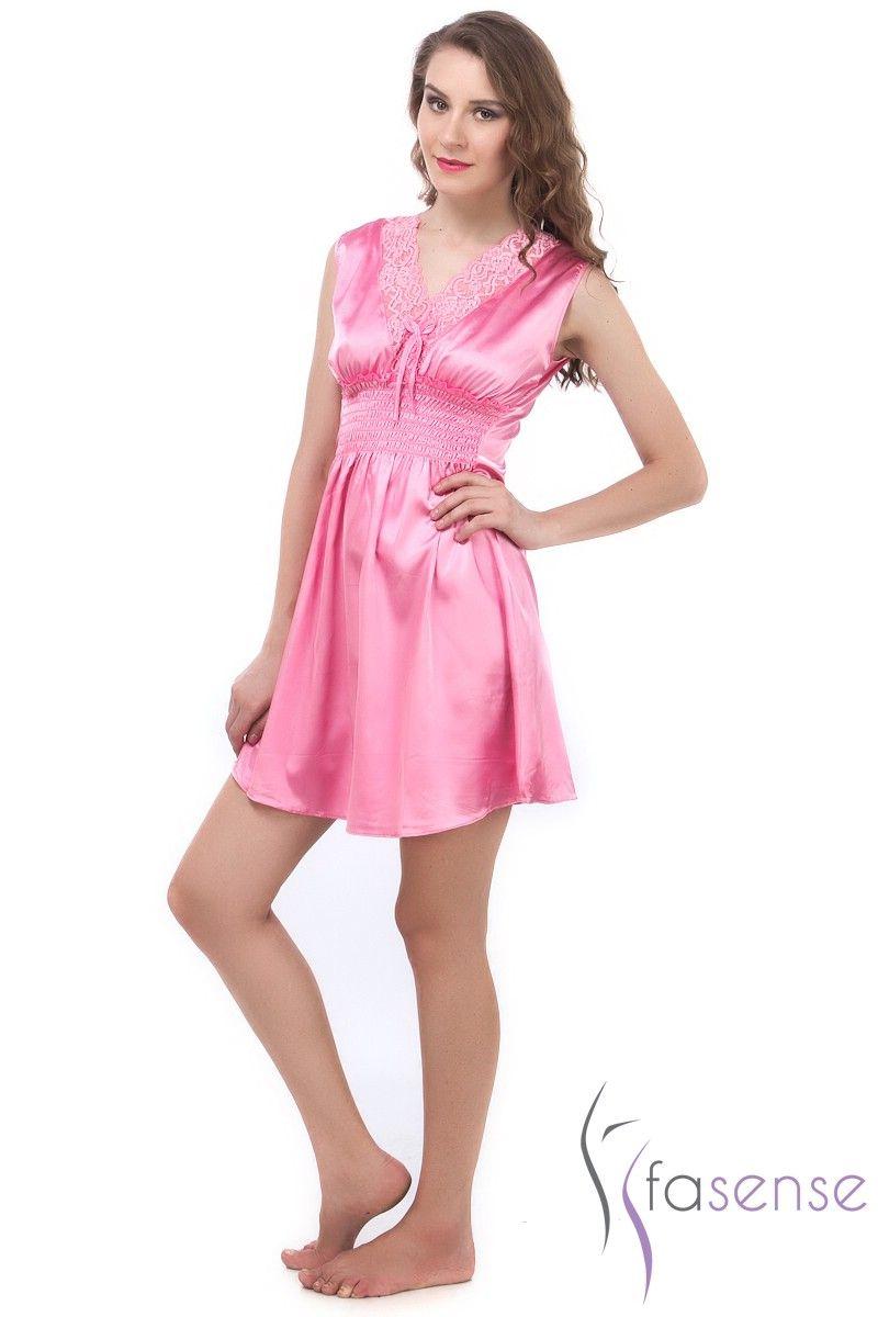 3ce98e2ec6 Fasense Exclusive Women Baby Pink Korean Satin Short Slip Nighty Rr024 B.  50%