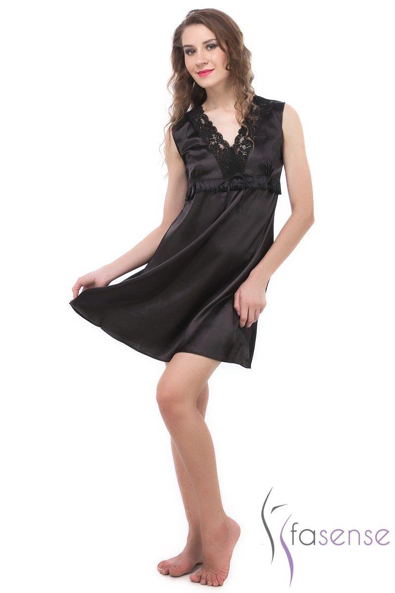 57a67eb51e Fasense Exclusive Women Black Korean Satin Short Slip Nighty Rr024 C. 50%