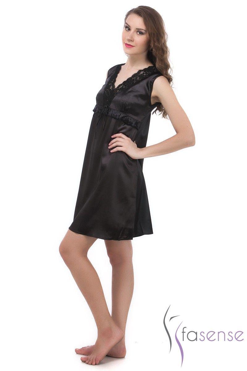 1bb8c06838 Buy Fasense Exclusive Women Black Korean Satin Short Slip Nighty Rr024 C  online