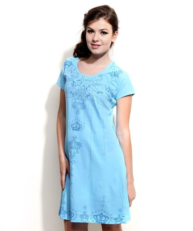 Buy Fasense Women Sky Blue Designer Cotton Short Nighty Ss033 B online