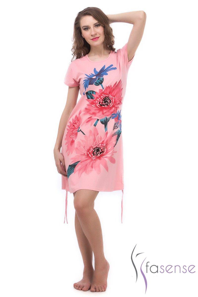 Buy Fasense Women Turquise Designer Cotton Short Nighty Ss041 B online 8c5c115375b2
