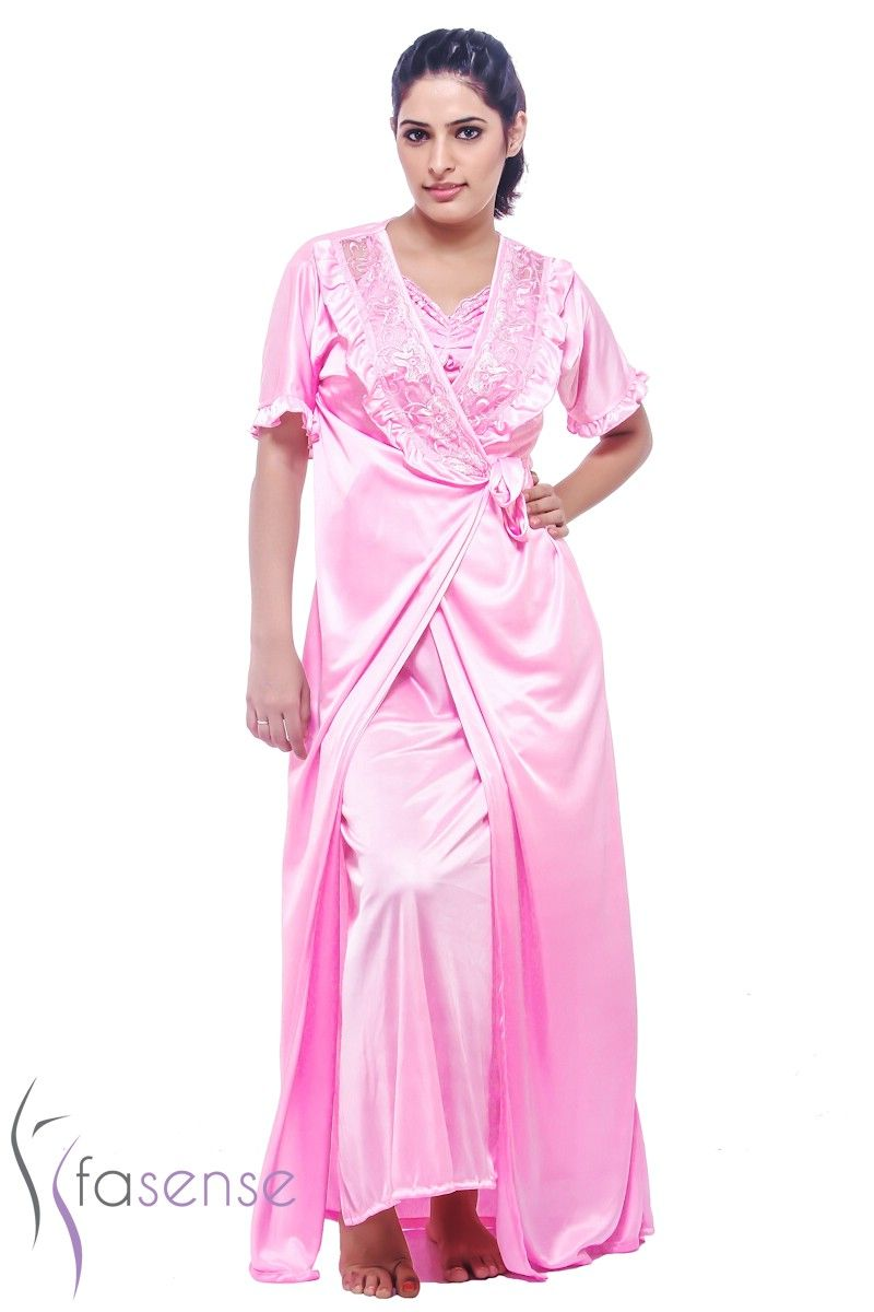 Buy Fasense Satin Exclsuive Baby Pink 6pc Set Gown & Robe , Top ...