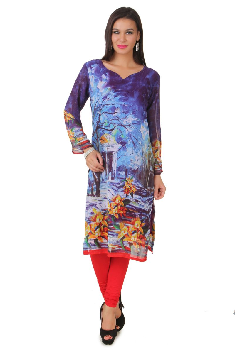 Buy Fasense Women's Georgette Wine Printed Stitched Kurti online