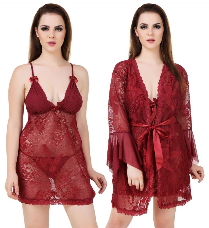Buy Fasense Women's 2 Pc, Wrap Gown & Babydoll Slip We013 D online