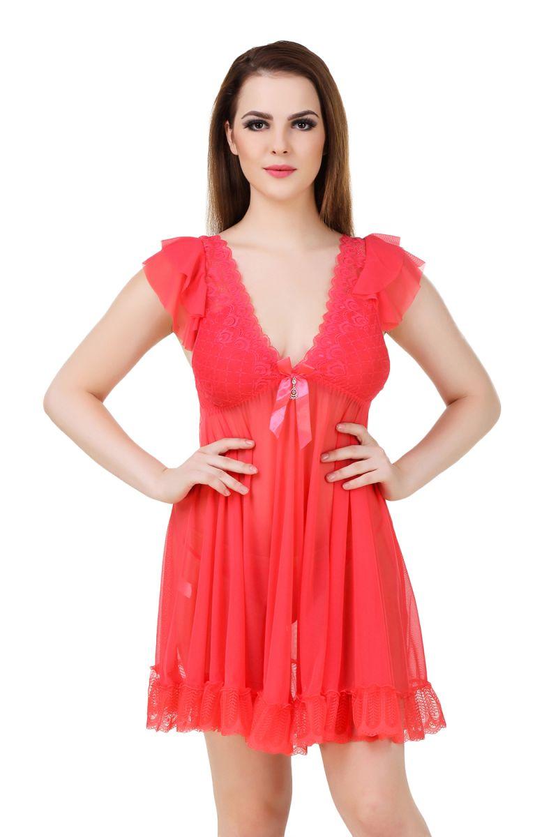 Buy Fasense Women's Net & Lace Sexy Babydoll Slip We014 C online