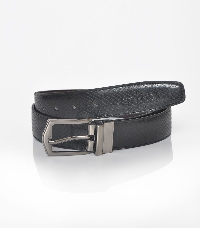Buy Stylox Men Formal Black Genuine Leather Reversible Belt online